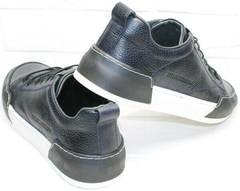 Кожаные кеды кроссовки для прогулок по городу мужские демисезонные Luciano Bellini C6401 TK Blue.