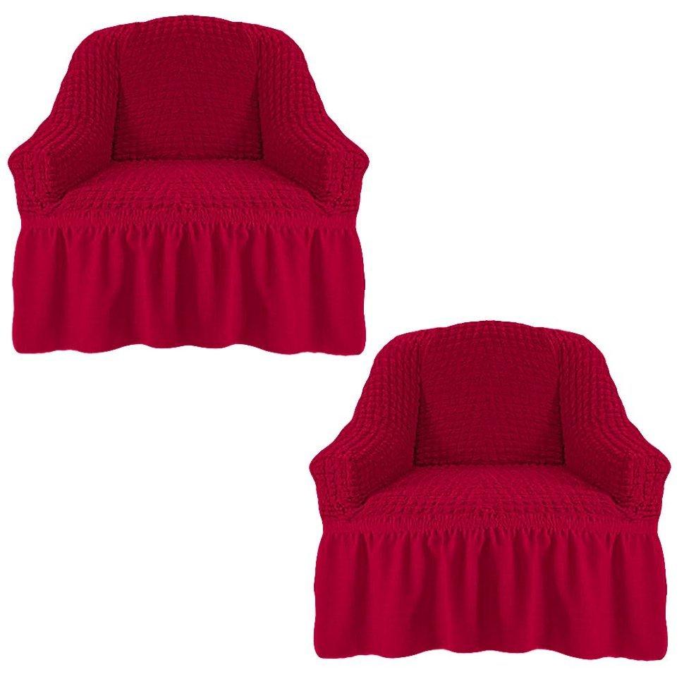 Чехол на два кресла, бордовый