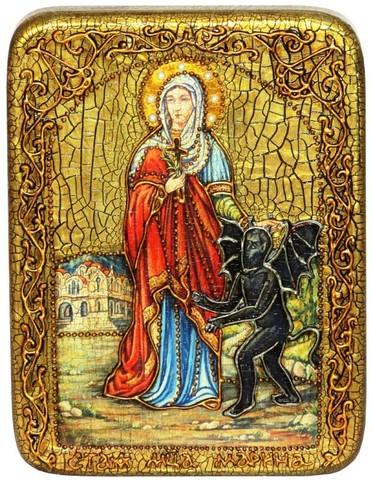 Инкрустированная икона Святая великомученица Марина (Маргарита) Антиохийская 20х15см на натуральном дереве в подарочной коробке