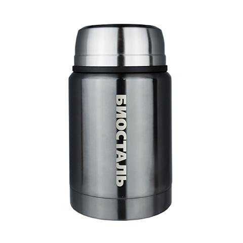 Термос для еды Biostal (0,5 литра), с ложкой, серый