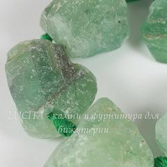 Бусина Флюорит, зеленый, фриформ, 15-30 мм, нить