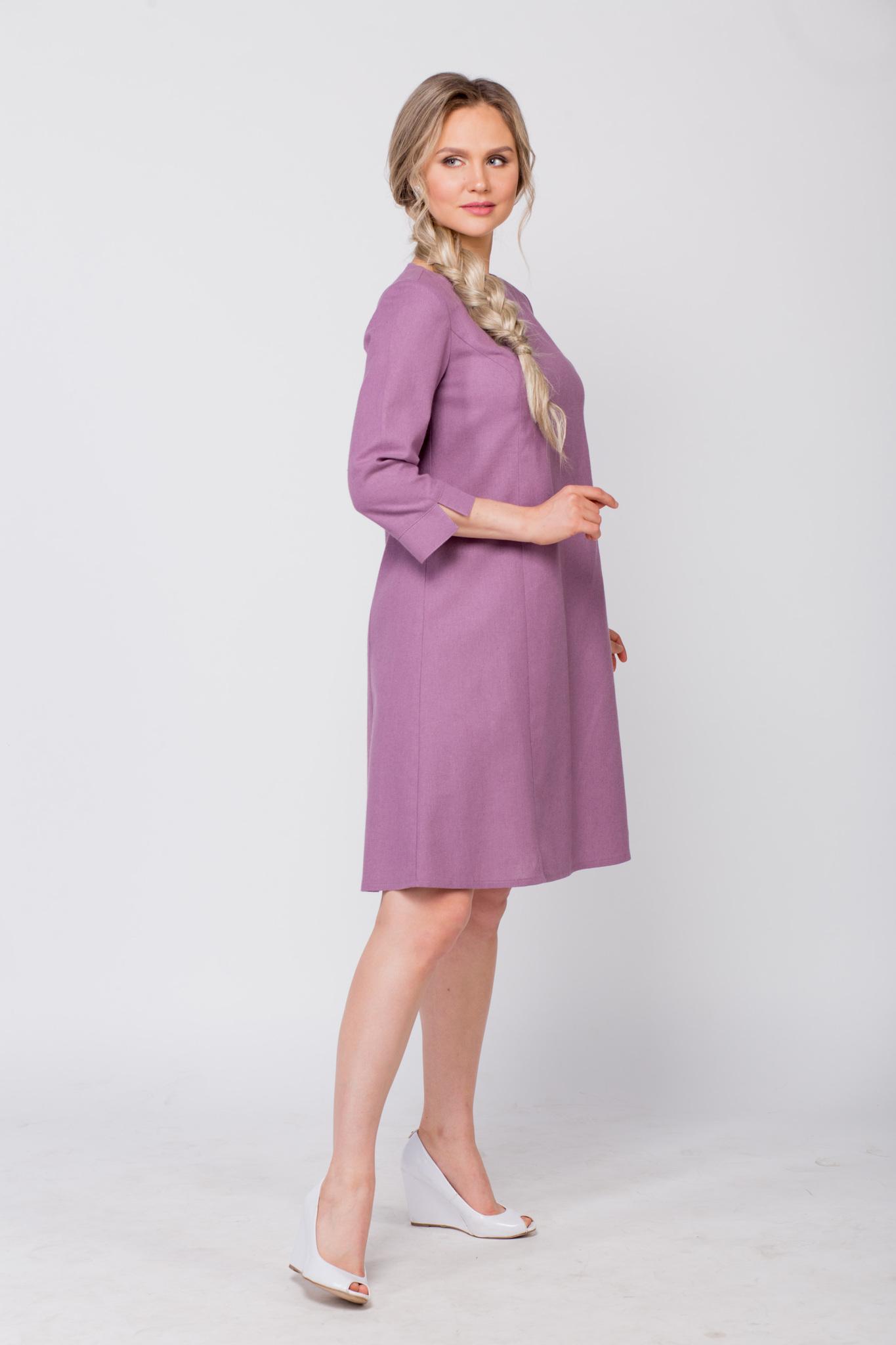 Платье льняное Лаванда вид сбоку