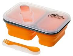 Контейнер Tramp силиконовый 2 отсека с ловилкой 900мл, оранжевый