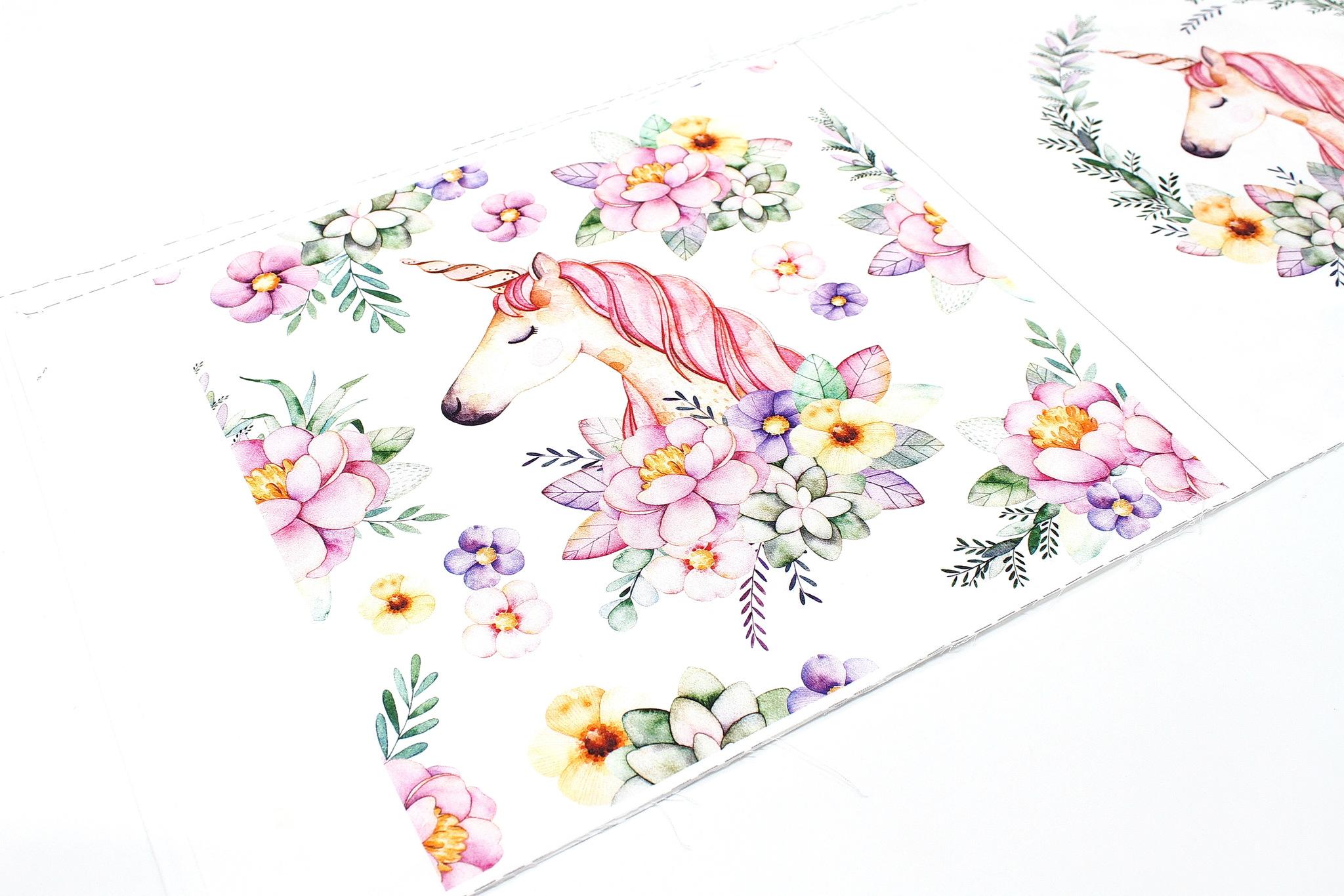 Панель(купон) единорог в цветах-35*35 см, 4 шт.