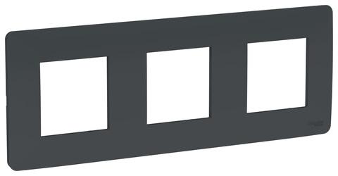 Рамка на 3 поста. Цвет Антрацит. Schneider Electric Unica Studio. NU200654