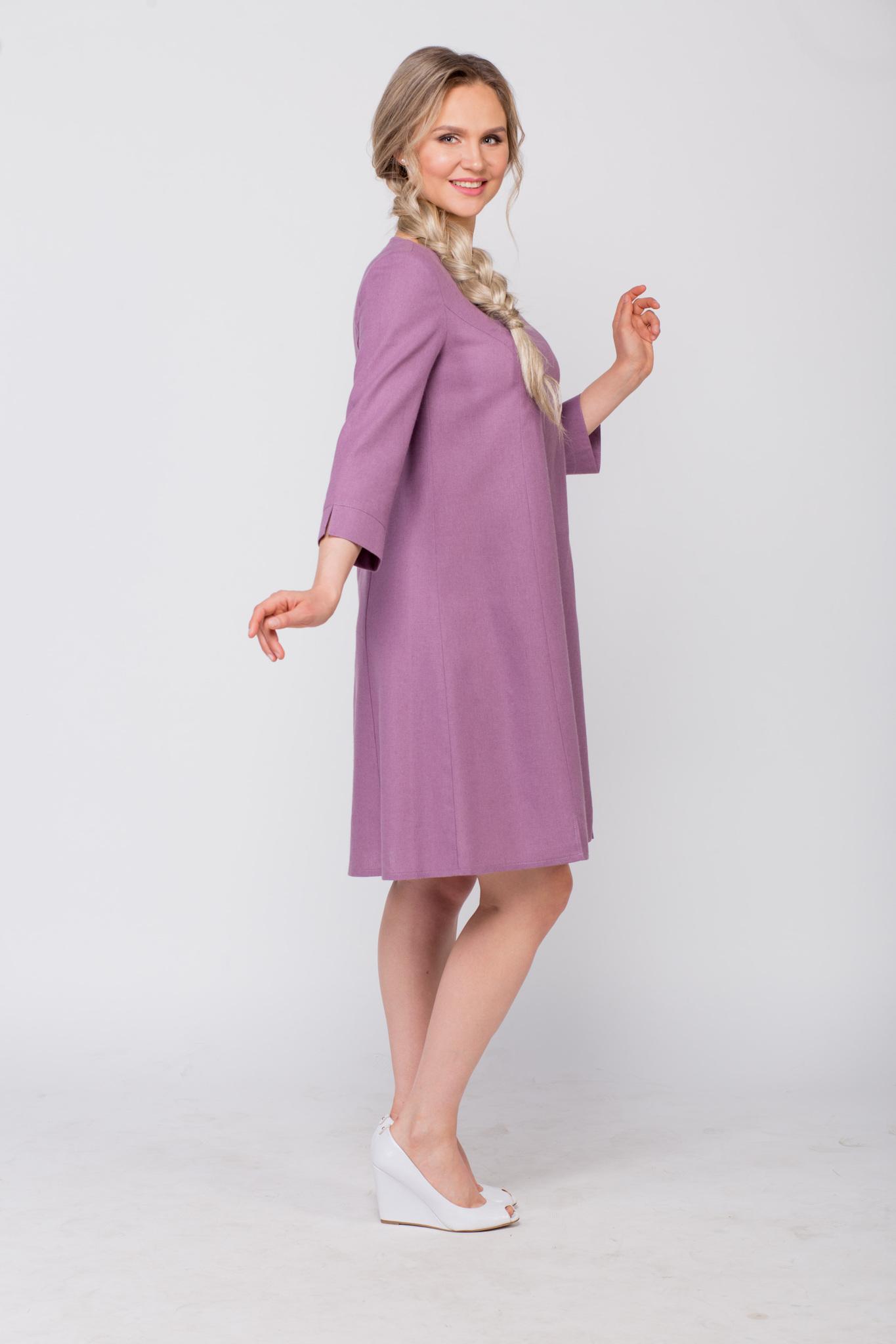 Платье льняное Лаванда в русском стиле