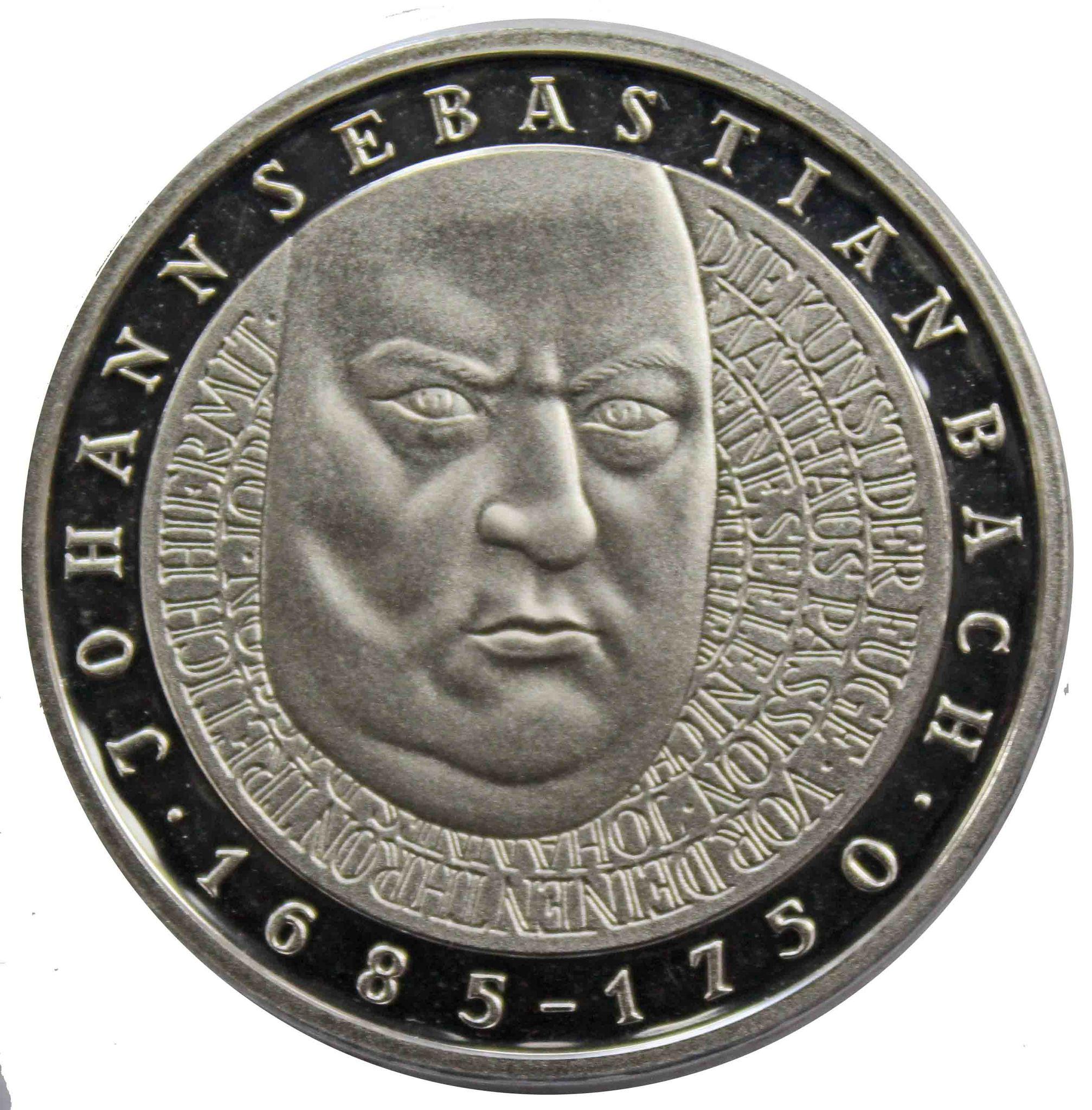 10 марок. 250 лет со дня смерти Иоганна Себастьяна Баха (J). Серебро. 2000 г. PROOF. В родной запайке