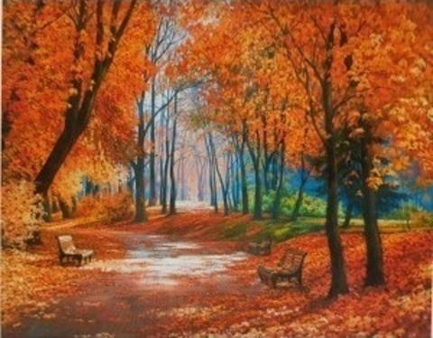 Картина раскраска по номерам 30x40 Лавочки в осеннем парке