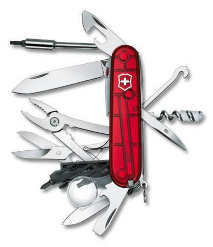 Нож Victorinox CyberTool Lite, 91 мм, 36 функций, полупрозрачный красный123