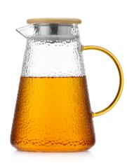 """Стеклянный заварочный чайник с бамбуковой крышкой-фильтром и с желтой ручкой """"Атлант"""", 1,8 литра"""