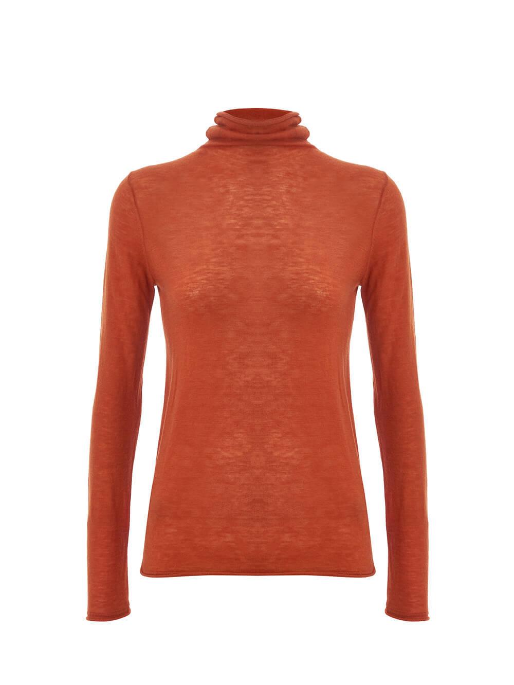 Женский джемпер оранжевого цвета из 100% шерсти - фото 1