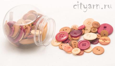 Набор разных пуговиц для рукоделия в банке, 140 гр, цвет 106 Spice, карамельные, оранжевые, красные