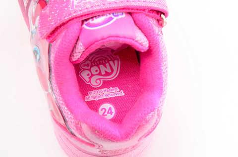 Светящиеся кроссовки для девочек Пони (My Little Pony) на липучках, цвет розовый, мигает картинка сбоку. Изображение 12 из 12.