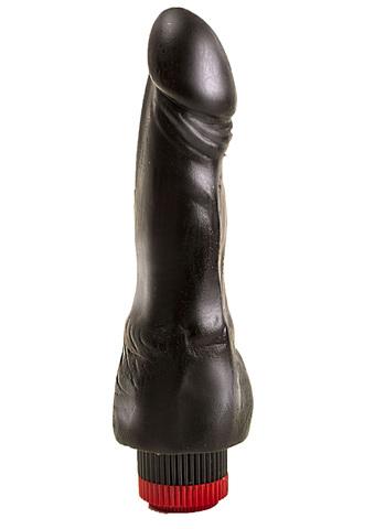 Вибромассажер реалистик ПВХ черный в ламинате  18,8 см., диам. 3,7 см