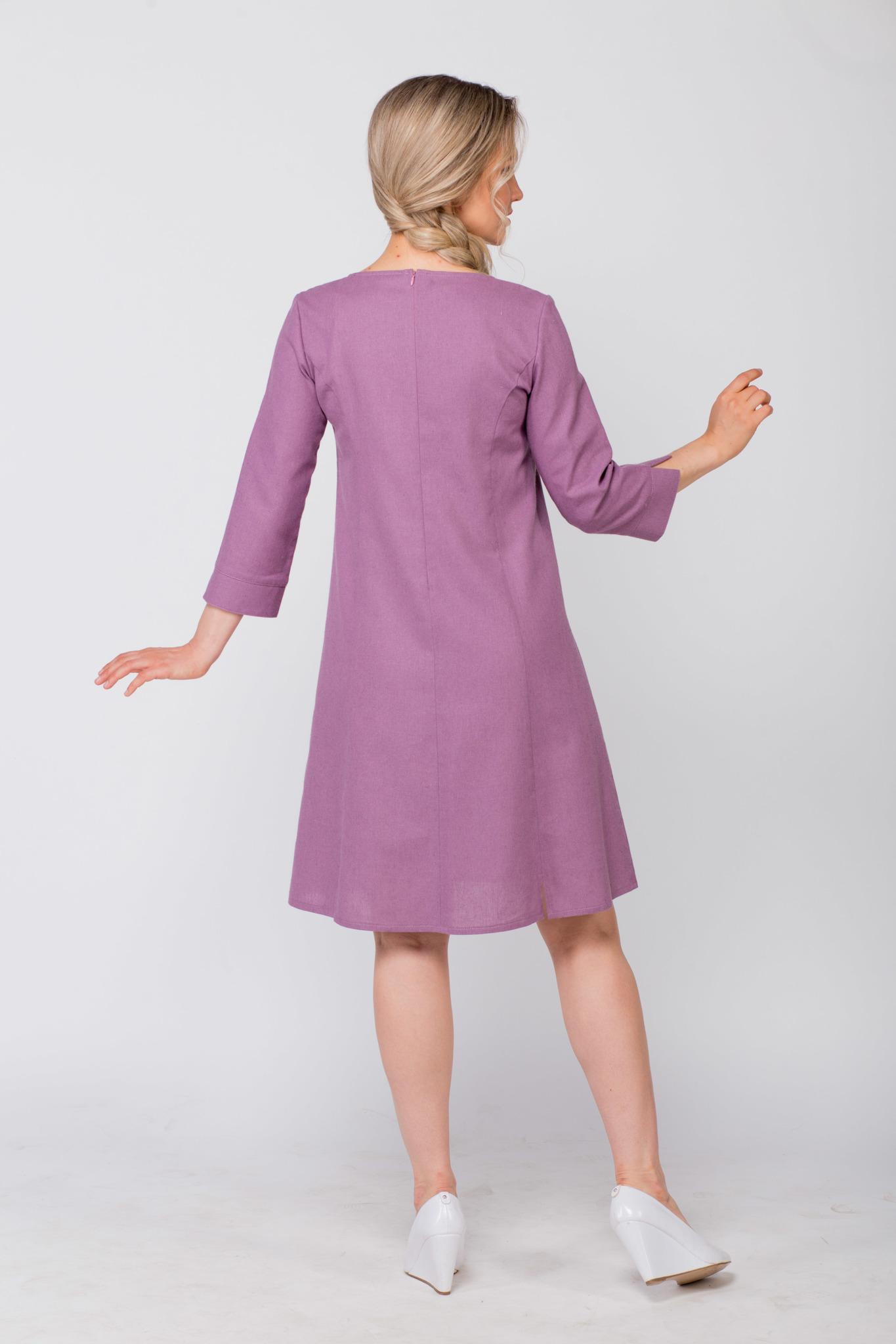 Платье льняное Лаванда вид сзади