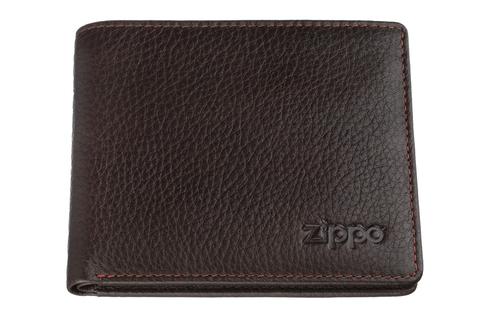 Портмоне Zippo, коричневое, натуральная кожа, 10,8×1,8×8,6 см