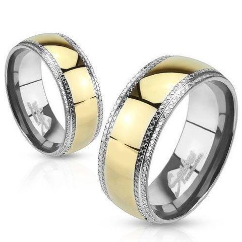 Необычное обручальное кольцо из ювелирной стали с позолотой для мужчин и женщин SPIKES R-H0944