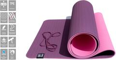 Коврик для йоги Original FitTools 6 мм двуслойный TPE бордово розовый - 2