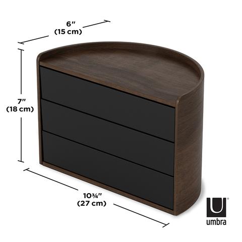 Шкатулка для украшений MOONA черная-орех