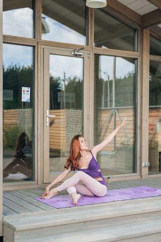 Каучуковый йога коврик Chakras Purple c разметкой 185*68*4,5 см
