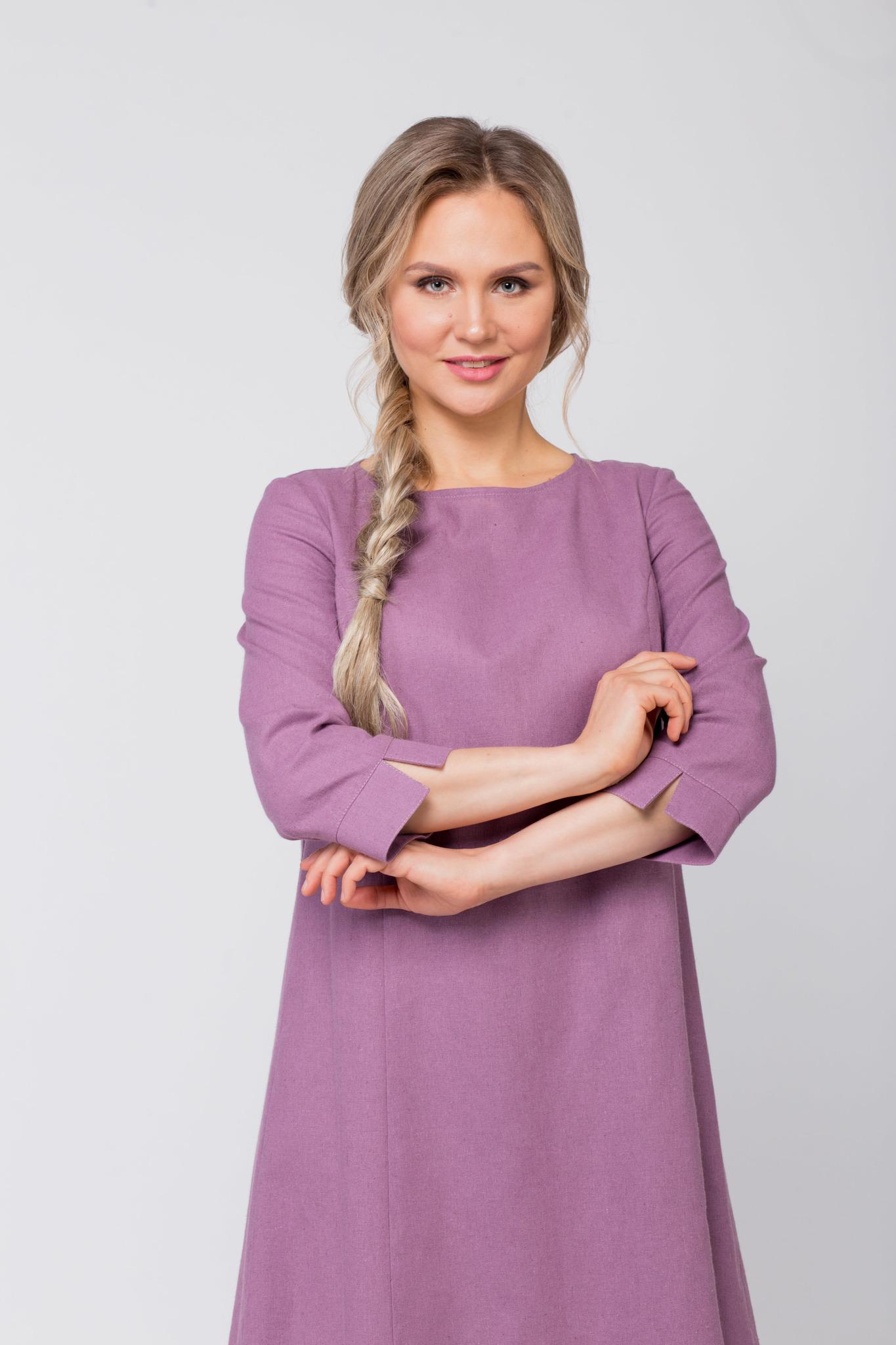 Платье льняное Лаванда приближенный фрагмент