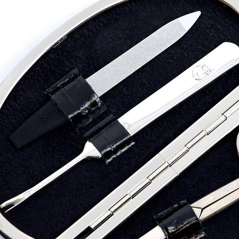 Маникюрный набор GD, 4 предмета, цвет черный, кожаный футляр