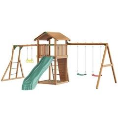 Детская площадка Jungle Cottage + Rock + SwingModule Xtra с гнездом + Рукоход