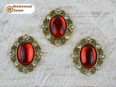 Камни овалы в оправе старое золото зеркальные красные