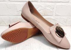 Острые балетки туфли лодочки без каблука Wollen G192-878-322 Light Pink.