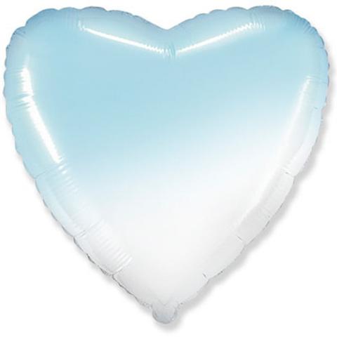 Шар сердце голубой, белый градиент, 45 см
