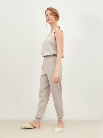 Женские брюки светло-кофейного цвета из вискозы - фото 4