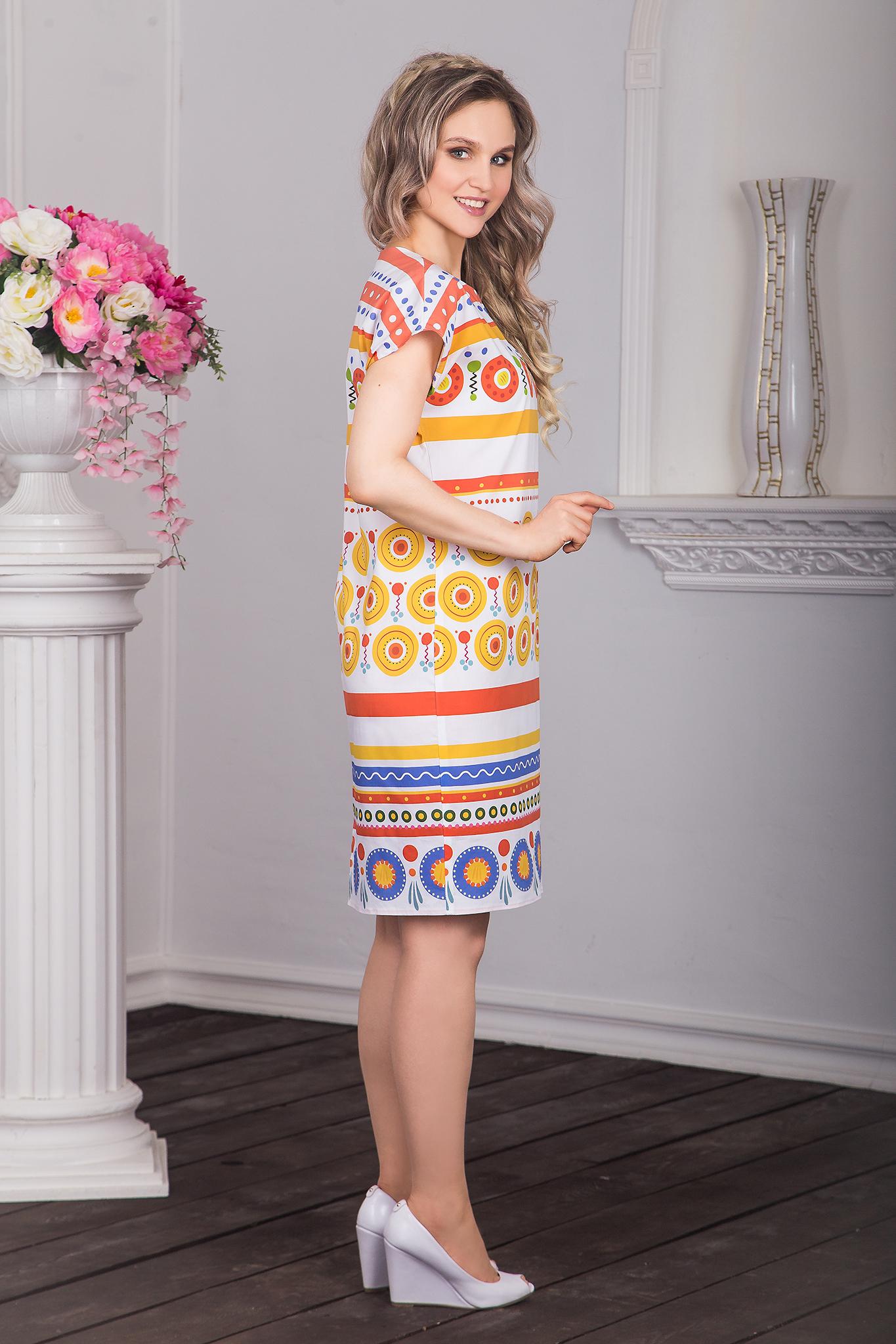 Платье хлопковое Дымковская игрушка вид сбоку