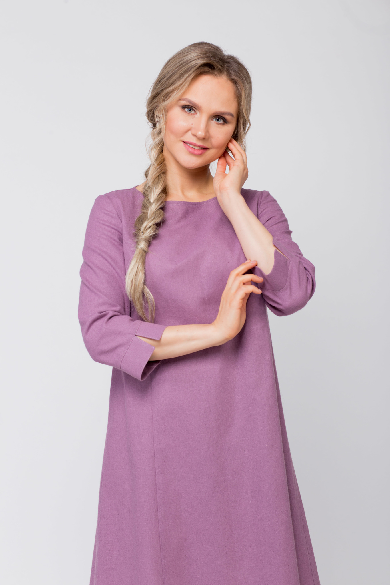 Платье льняное Лаванда увеличенный фрагмент
