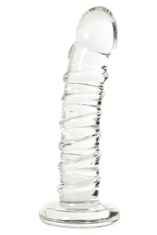 Фаллос со спиралевидным рельефом из прозрачного стекла - 14 см.