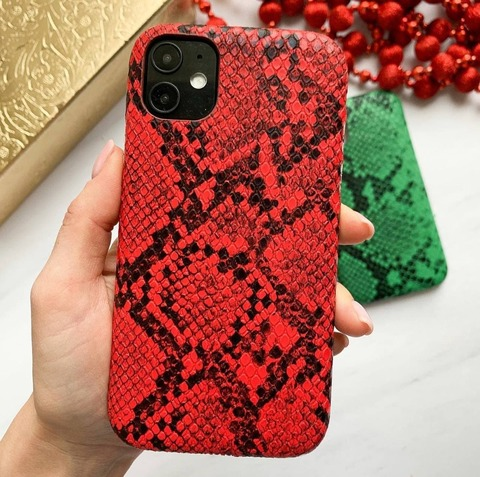 Чехол iPhone X/XS Leather Reptile case /red/
