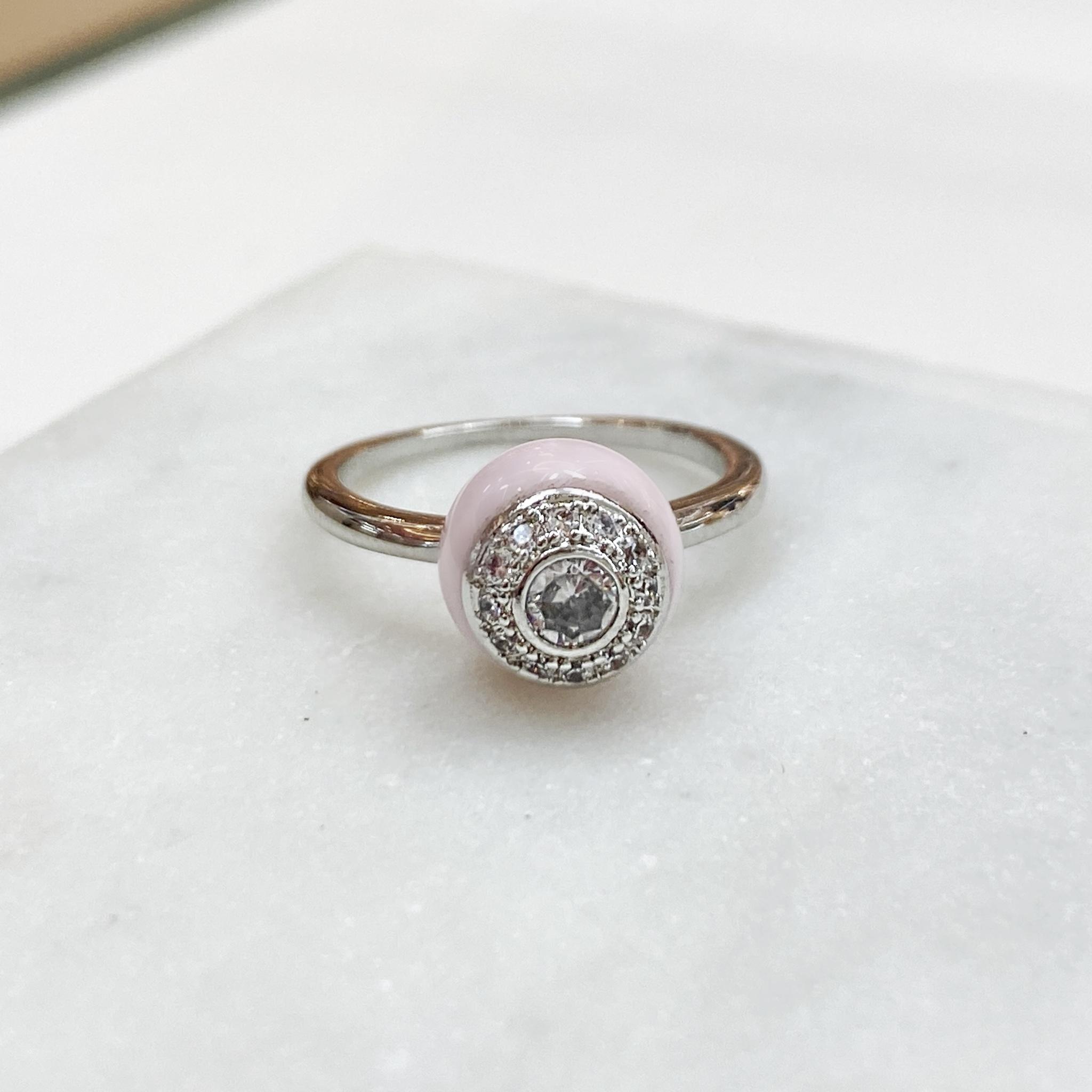 Кольцо Керамика с вставкой-розеткой розовый (цирконы, сталь)