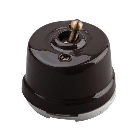 Выключатель тумблерный одноклавишный проходной, для наружного монтажа. Цвет Коричневый. Salvador. OP41BR