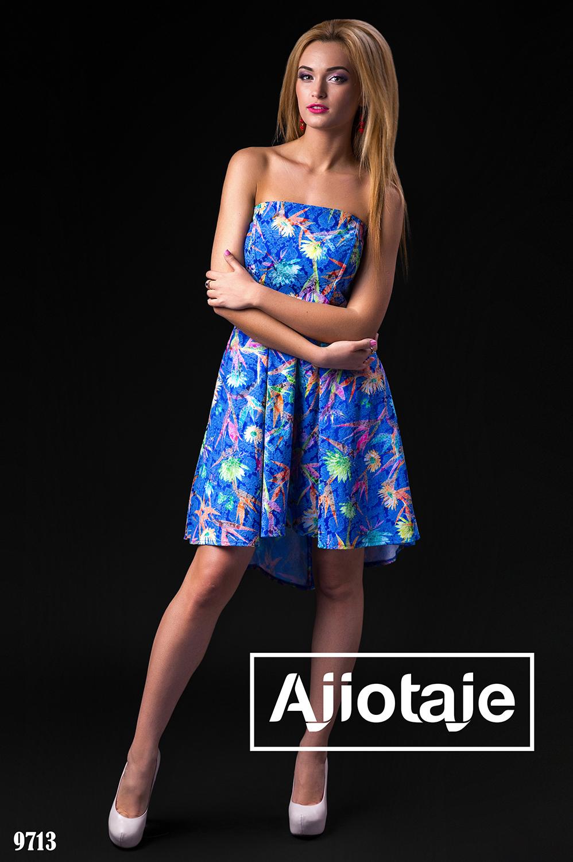 Платье цвета электрик с корсетом