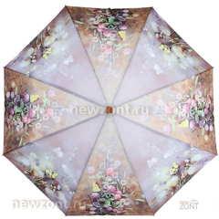 Плоский коричневый зонт автомат Ламберти «Полевые цветы»