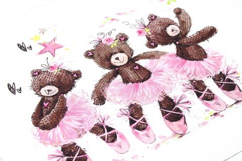 Панель(купон) три мишки-балерины-110*150 см.