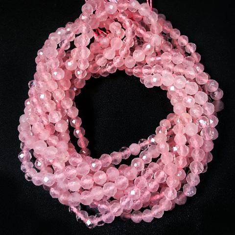 Бусины розовый кварц A граненый 4 мм цена за 51 бусину (~19 см)