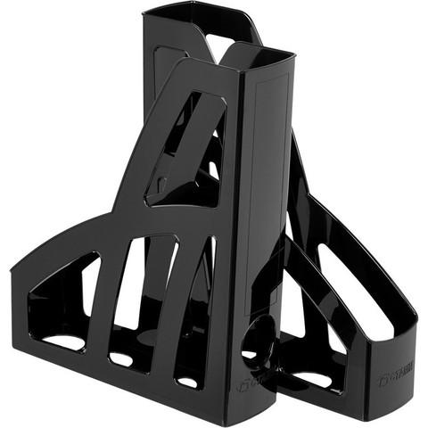 Вертикальный накопитель Стамм Лидер пластиковый черный ширина 75 мм (2 штуки в упаковке)
