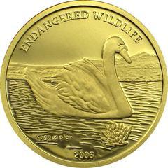 Золотая монета 2006 года выпуска Монголия 1000 тугриков, Лебедь, AU-999, 1,24 гр. диам. 13,92 мм, тир. 25000, пруф. 100% гарантия подлинности.