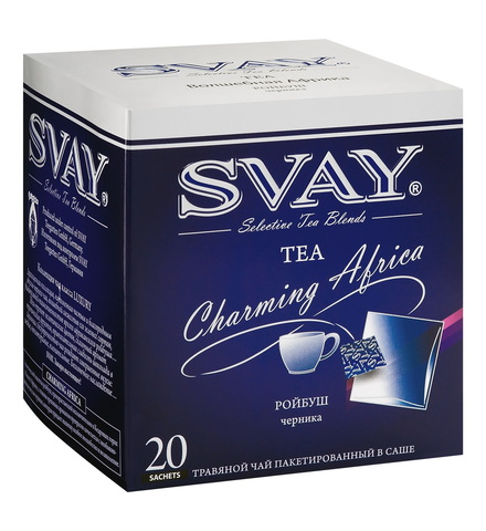Чай Svay Charming Africa (Чарующая Африка) ройбуш с ореховым ароматом и вкусом черники в саше (20 саше по 2 гр.)