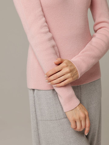 Женский розовый джемпер из 100% кашемира - фото 3