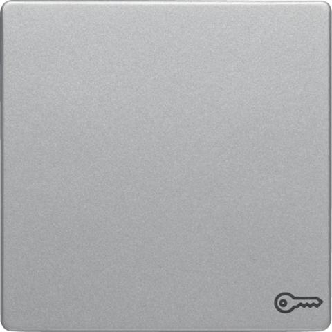 Выключатель одноклавишный, кнопочный (1 замыкатель, 1 размыкатель, раздельные входные клеммы) с оттиском символа «Дверь» 10 А 250 В~. Цвет Алюминий. Berker (Беркер). Q.1 / Q.3 / Q.7. 16206064+503203