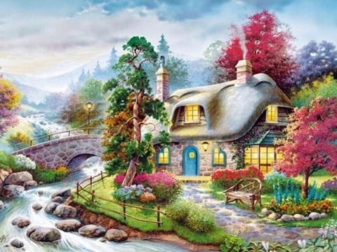 Алмазная Мозаика + Багет 40x50 Уютный домик у речки