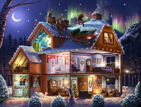Картина раскраска по номерам 30x40 Дед Мороз готовит поздравление