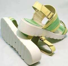 Стильные сандали женские босоножки на небольшой танкетке Crisma 784 Yellow Green.