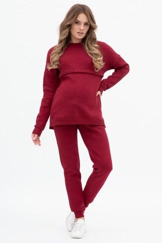 Утепленный спортивный костюм для беременных и кормящих 12080 бордовый